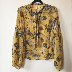 Mustard floral tie front boho ballon sleeve Blouse